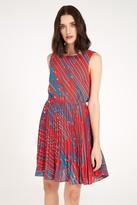Louche Karmen Pleated Broken Line Print Dress