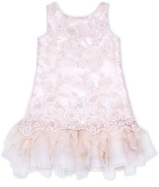Biscotti Girls' Special Occasion Dresses CREAM - Cream Metallic Lace Sleeveless Ruffle-Hem Dress - Toddler & Girls
