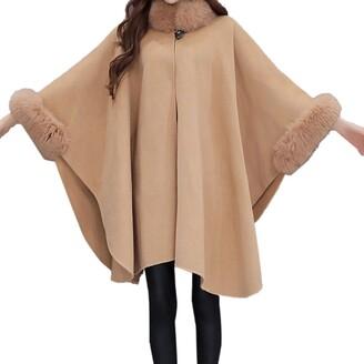 Elonglin Womens Faux Fur Cloak Coat Bat Sleeve Thick Wool Blend Trim Shawl Wrap Buckle Collar Trench Outwear Vintage Stylish Cape Poncho Coat Cardigan Cloak Jacket Winter Size XXL Light Tan
