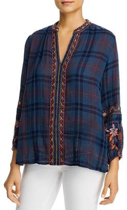 Johnny Was Lainai Embroidered Plaid Top