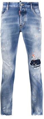 DSQUARED2 Splatter-Print Distressed Skinny Jeans