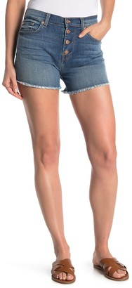 7 For All Mankind High Waist Frayed Exposed Button Shorts