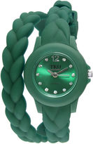 JCPenney TKO ORLOGI Womens Crystal-Accent Braided Green Silicone Strap Wrap Watch