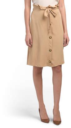 Juniors Button Front Tie Waist Utility Skirt