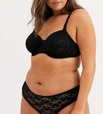 New Look Plus Curve essentials lace brazilian in black