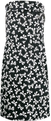 Yves Saint Laurent Pre Owned 1980's Bows Print Strapless Dress