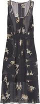 Rochas Printed silk-chiffon midi dress