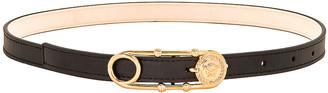 Versace Skinny Leather Belt in Black & Gold | FWRD