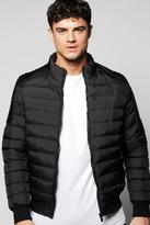 Boohoo Quilted Panelled Bomber With Pu Biker Detail
