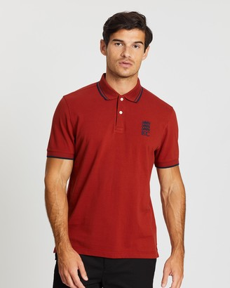 Kent And Curwen Three Lions Stripe Collar Polo