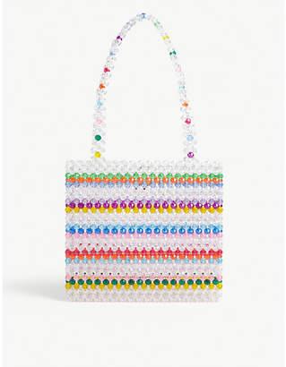 Susan Alexandra Merry multi-coloured beaded tote bag