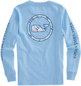 Vineyard Vines Boys Long-Sleeve Kentucky Derby Patchwork Tie Whale Dot Pocket T-Shirt