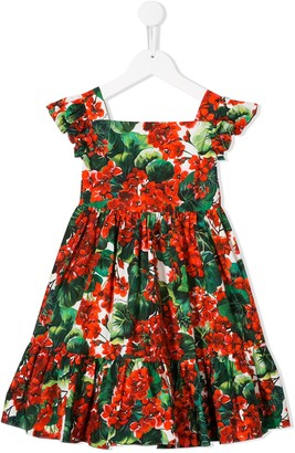 Dolce & Gabbana Floral Print Tiered Dress