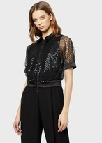 Emporio Armani Tulle Blouson With Beads And Sequins