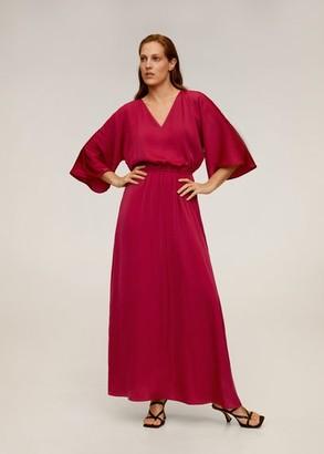MANGO Elastic waist long dress fuchsia - 4 - Women
