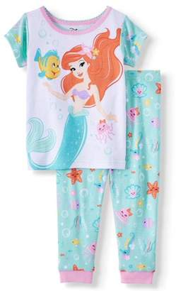 The Little Mermaid Baby Girl Cotton Snug Fit Pajamas, 2pc Set