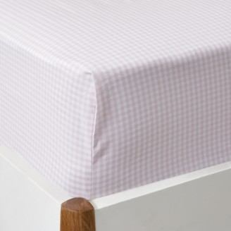 The White Company Gingham Fitted Sheet, Chalk Pink, Single