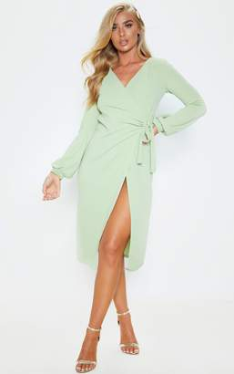 PrettyLittleThing Sage Green Balloon Sleeve Wrap Midi Dress