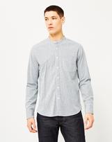 Lee 101 Bandcollar Indigo Worker Stripe Shirt Blue