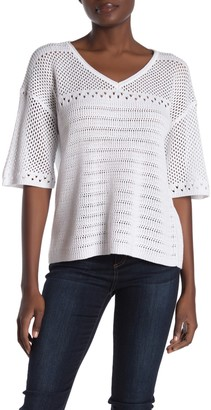 Michael Stars Lexi Open Knit V-Neck Top