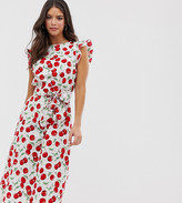 Glamorous Tall midi dress with ruffle sleeves and tie waist in cherry print