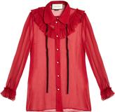 Gucci Long-sleeved silk-chiffon blouse