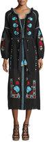Figue Tula Embroidered Tie-Waist Dress, Onyx