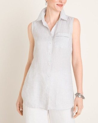 No Iron Linen Sleeveless Buttondown Tunic