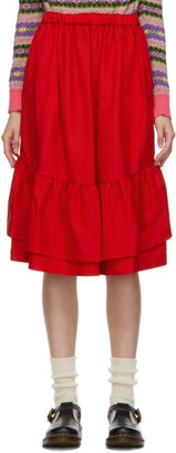 COMME DES GARÇONS GIRL Red Gabardine Ruffle Hem Skirt