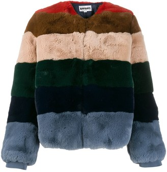 Apparis striped faux-fur jacket