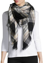 Lord & Taylor Plaid Fringe Wrap Scarf
