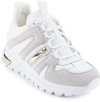 DKNY Women's Sneakers WHT:WHITE - White & Gold May Leather Sneaker - Women