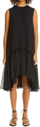 ADEAM Flounce Hem Chiffon High/Low Dress
