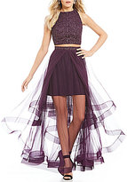 Jodi Kristopher Lace Top Two-Piece Layered Skirt Gown