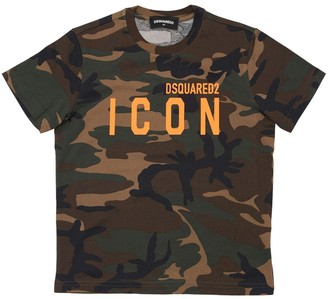 DSQUARED2 Camouflage Print Cotton Jersey T-shirt