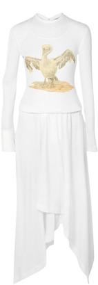 Loewe Asymmetric Printed Ribbed Cotton-blend Dress