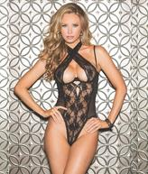 Shirley of Hollywood Crossneck Open Back Teddy Lingerie - Women's