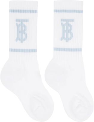 Burberry White and Blue Monogram Socks