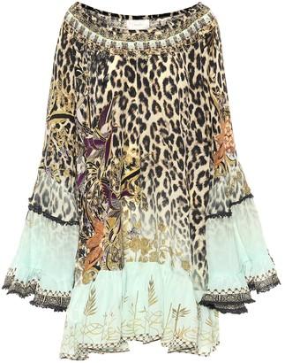 Camilla Off-shoulder printed silk minidress