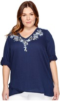 Karen Kane Plus - Plus Size Crossover Embroidered Top Women's Clothing