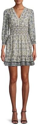 Max Studio Floral-Print Smocked Mini Dress