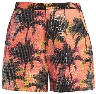story. Le Superbe Sequin Palm-Print Shorts