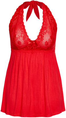 City Chic Super Soft & Comfy Halter Chemise - red