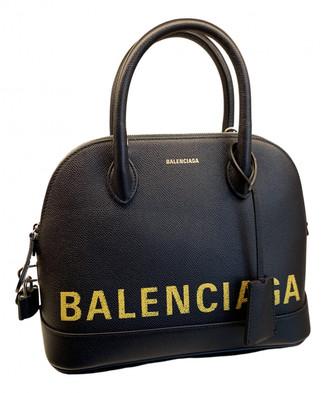 Balenciaga Ville Top Handle Navy Leather Handbags