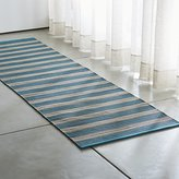 Crate & Barrel Sachi Teal Stripe Indoor/Outdoor Rug Runner