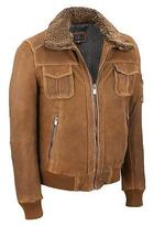 Wilsons Leather Mens Vintage Bomber W/ Shearling Collar