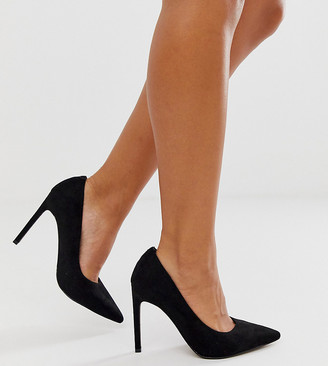 Asos Design DESIGN Wide Fit Porto pointed high heeled court shoes in black