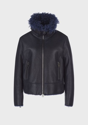 Emporio Armani Crackle-Effect Nappa Merino Sheepskin
