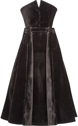 Fendi Belt-Detail Velvet-Effect Dress