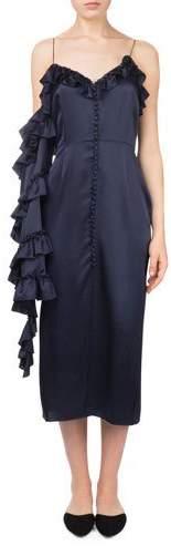 Magda Butrym Pozallo V-Neck Button-Front One-Sleeve Ruffle Sheath Dress